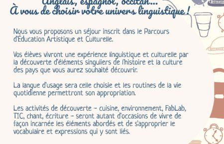 Classe de découverte : Les langues en mouvement